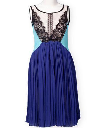 Blue Sleeveless Lace Pleated Chiffon Dress