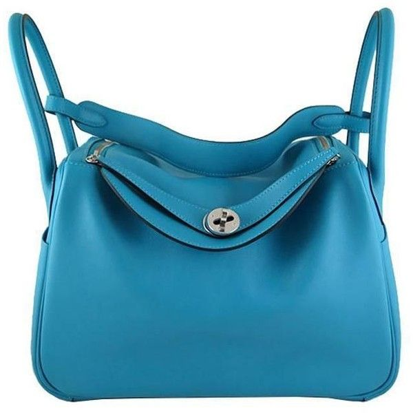 Preowned Hermes Lindy 30 Turquoise Swift Leather Blue Shoulder Bag (57,940 CNY) ❤ liked on Polyvore featuring bags, handbags, shoulder bags, blue, top handle bags, leather purses, blue handbags, leather shoulder bag, blue leather shoulder bag and hermes shoulder bag