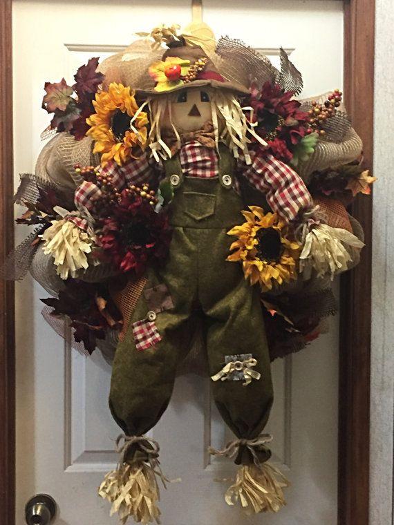 Happy Thanksgiving Wreath Scarecrow Wreath by TayloredWreaths