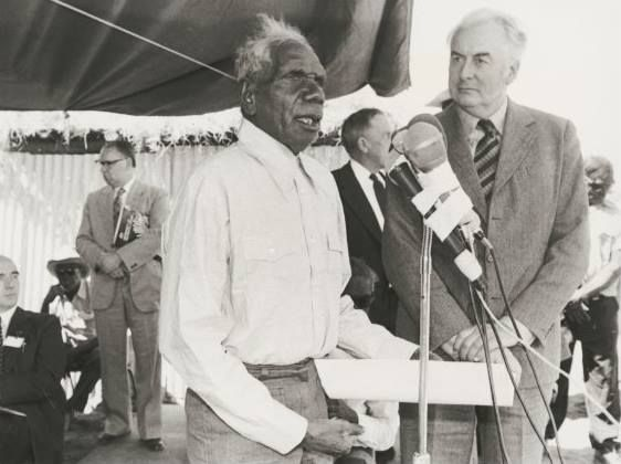 On 23 August 1966: Vincent Lingiari leads Gurindji, Malgnin, Warlpiri, Mudburra, Ngarinman and Bilinari people off the Wave Hill station in strike over poor conditions. The Gurindji Strike (Wave Hill Walk-off) lasts for seven years, and marks the beginning of the Indigenous land rights movement.  National Library of Australia, image vn6155160