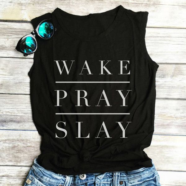 Wake Pray Slay Muscle Tee Funny Workout Tank Gym Shirt Funny Shirt... ($25) ❤ liked on Polyvore featuring tops, grey, tanks and women's clothing