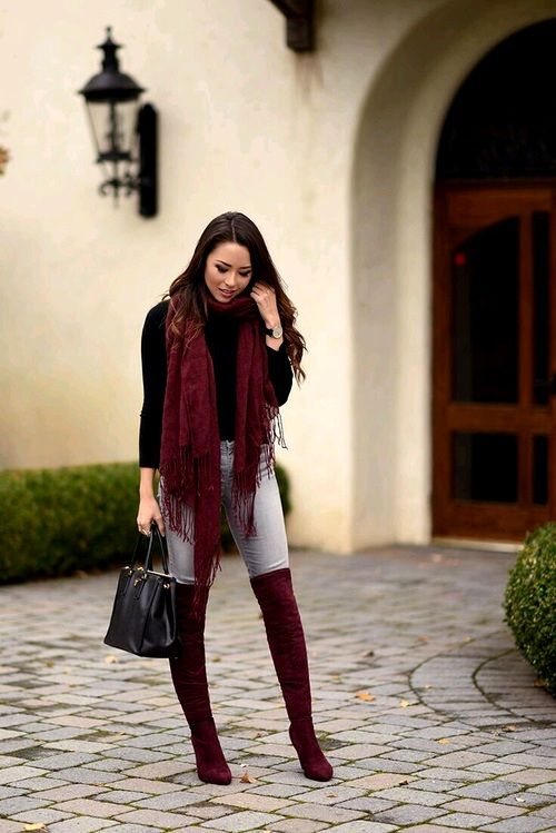 outfit ideas in maroon, burgundy- maroon scarf, maroon high knee boots