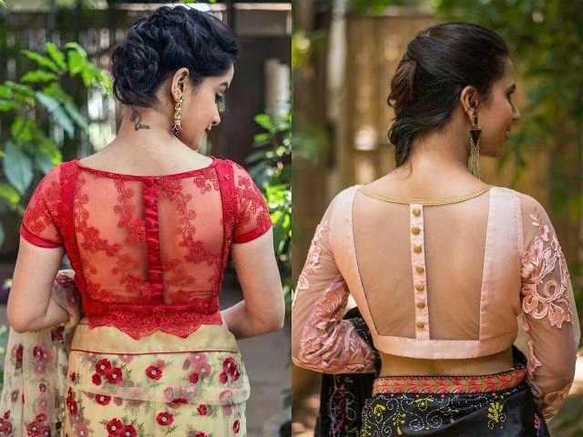 Sheer back saree blouse