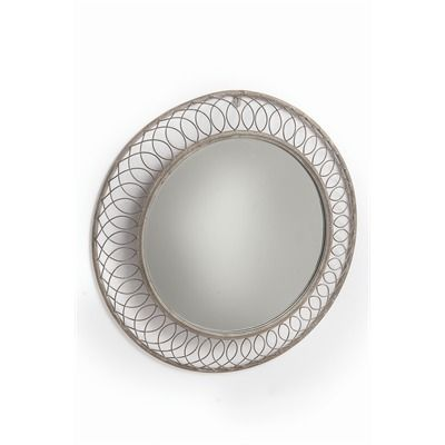 Large round mirror, woven frame