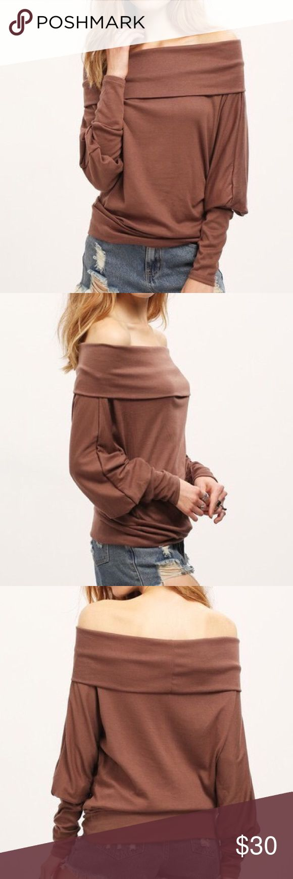 """Coming Brown open shoulder batwing T shirt S Bust 41"""" length 23.6"""" M Bust 42.5"""" length 24"""" L Bust 44"""" length 24.8"""" XL 45.5"""" length 25.2"""" Tops Tees - Long Sleeve"""