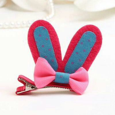 JRK Kids Bowknot Rabbit Ear Shape Clip Pink | pinknee.com
