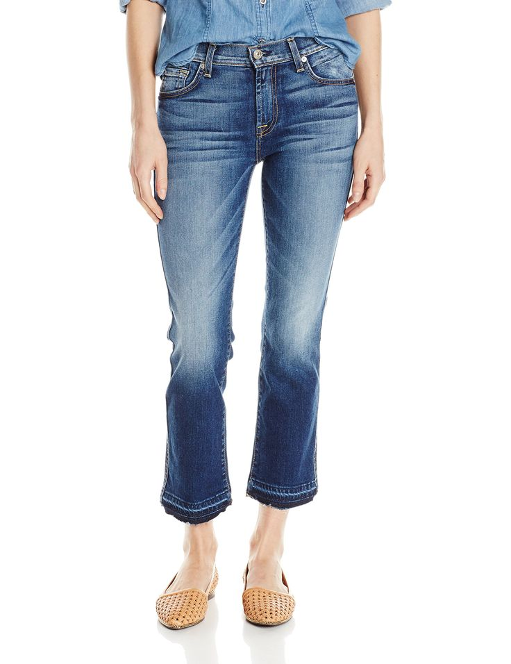 "7 For All Mankind Women's Cropped Bootcut with Released Hem Jean in, Bright Indigo Stretch, 31x26.5. Five-pocket cropped jean in 9.7-ounce stretch denim featuring whiskering at hips, intense fading, and released hem. Inseam: 26"", Leg opening: 16"", Front rise: 9""."