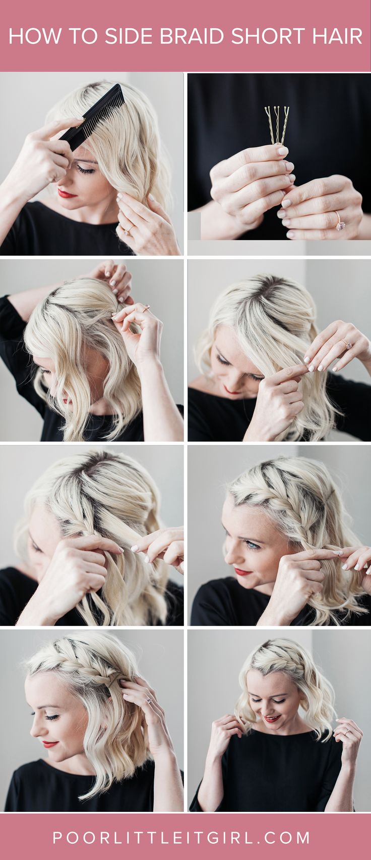 How To Side Braid Short Hair - Hair Tutorial - Braid - Poor Little It Girl