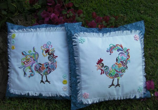Rainbow Roosters 1 - stunning set of roosters!  Find the designs here http://www.oregonpatchworks.com/items.php?did=113482&pid=1588266