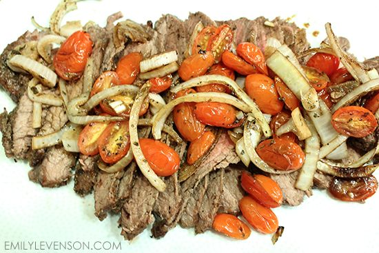Flank Steak with Roasted Tomatoes and Onions | Emily Levenson
