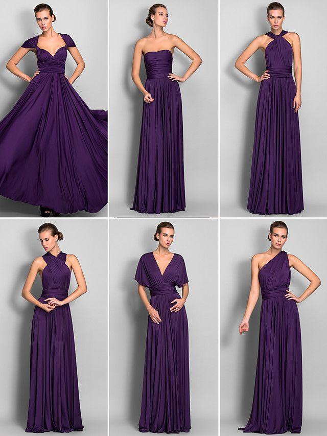 Bridesmaid Dress Floor Length Jersey Sheath Column Convertible Dress | LightInTheBox