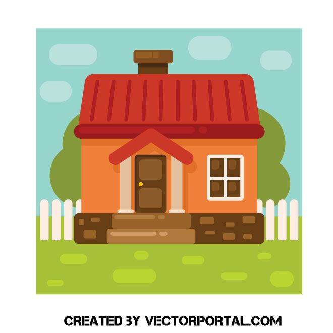 Nice House With The Fence Vector Image Vector Images House