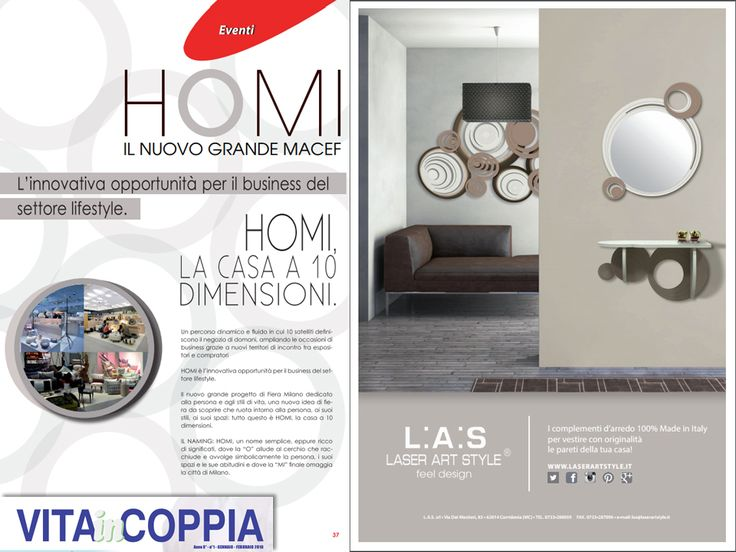 "L:A:S #laserartstyle è su ""Vita In Coppia"", nello speciale su #Homi16! #wallsculpture #design #interiordesign #homedecor #furnishings"