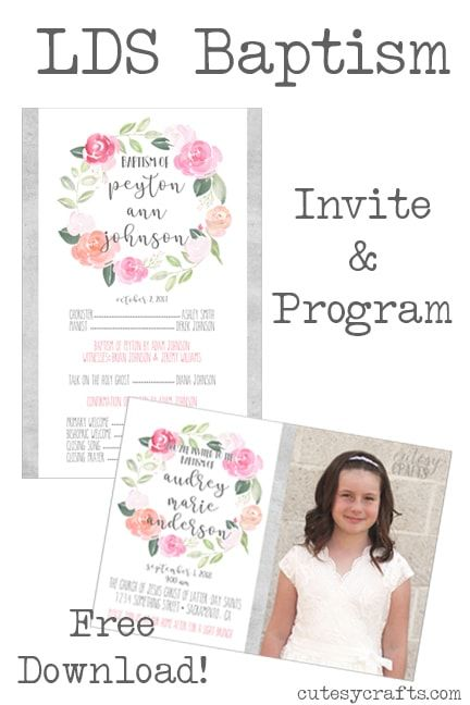 Free Lds Baptism Invitation Template Cutesy Crafts Blog