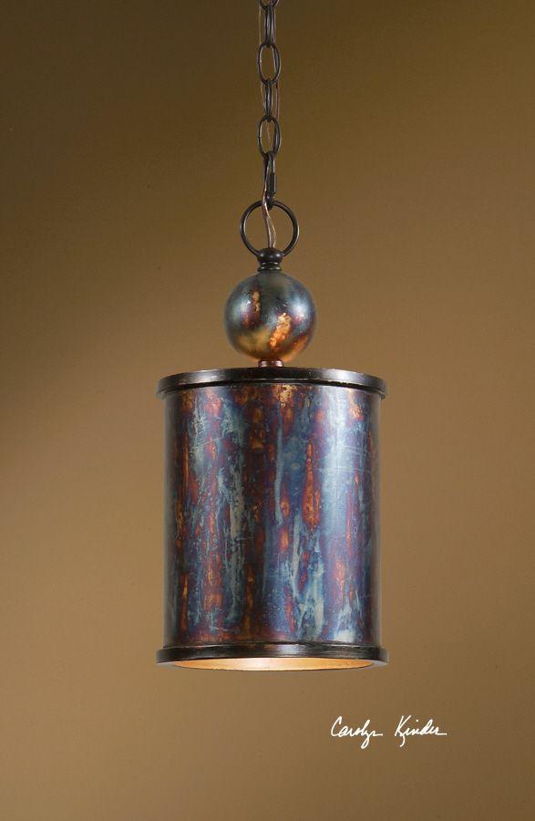 One Light Oxidized Bronze Drum Shade Mini Pendant