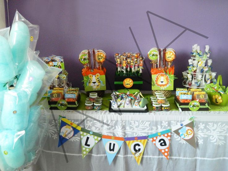 25 best images about adornos ni o selva on pinterest for Mesa de dulces para baby shower nino