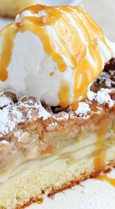 Just the picture alone got me but READ and PIN this delicious cake! Apple Cake with Streusel Topping