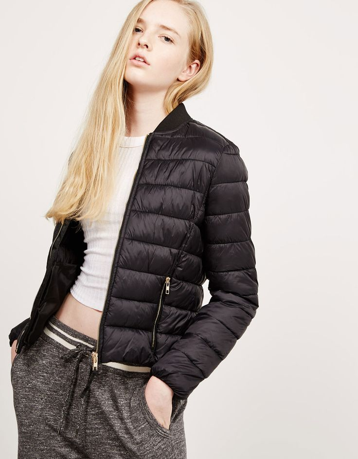 Ribbed nylon jacket with collar - Coats and Jackets - Bershka United Kingdom