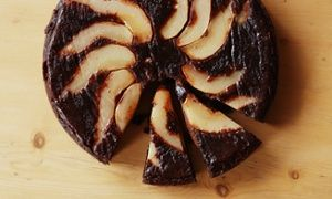Firm friends … Pear and chocolate upside-down cake.