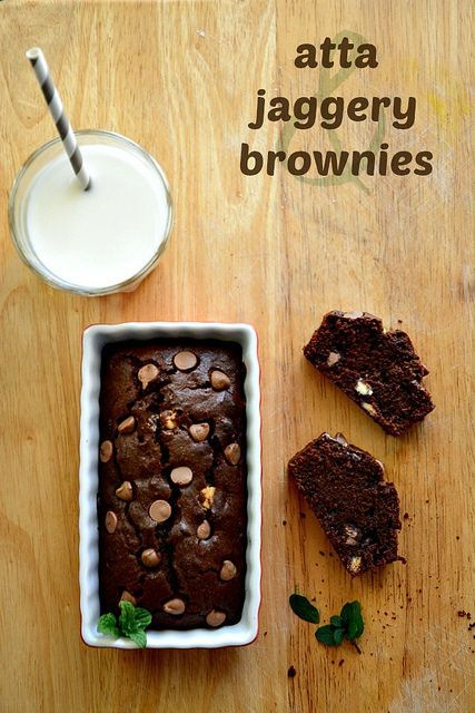 Whole Wheat Brownie Recipe using Indian whole wheat flour (atta) and unrefined cane sugar (jaggery). One of the best brownies I've baked and travels so well.
