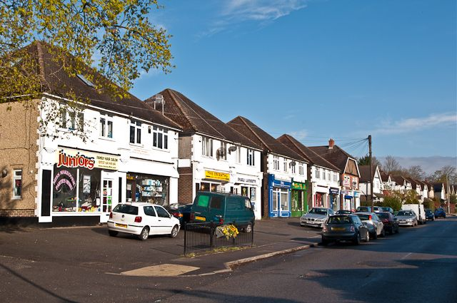 Nutfield Road shops 2012  A parade of shops in Nutfield Road, dating from the 1950s(?). Earlier maps show them to be on the site of an old brick and tile works. this to be