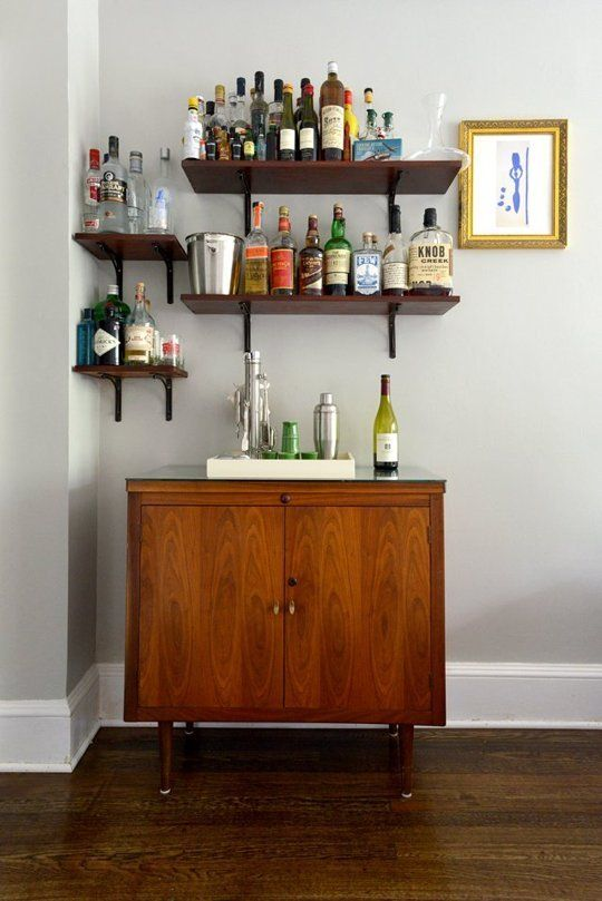 Heidi's Stylish Reinvention - home bar - shelves for liquor bottles
