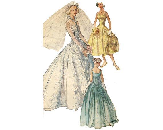 Vintage wedding dress pattern simplicity 2066 for Empire waist wedding dress patterns
