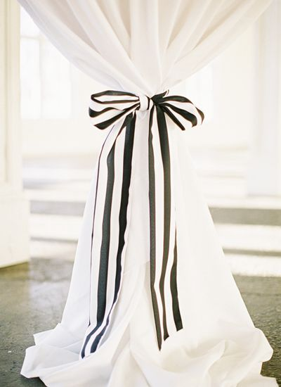 black + white striped bow detail