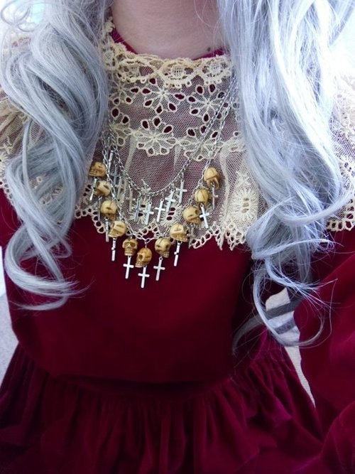 burgandy red with white hair