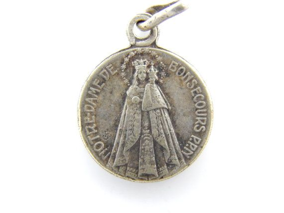 French Vintage Notre Dame de bon Secours Catholic Medal - Our Lady of Good Help - Sacred Heart of Jesus Religious Charm by LuxMeaChristus on Etsy
