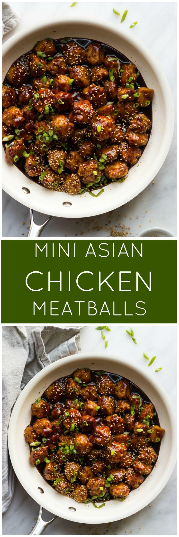 Mini Asian Chicken Meatballs - tender chicken meatballs in a delicious asian inspired sauce. SO good for the holidays! | littlebroken.com @littlebroken