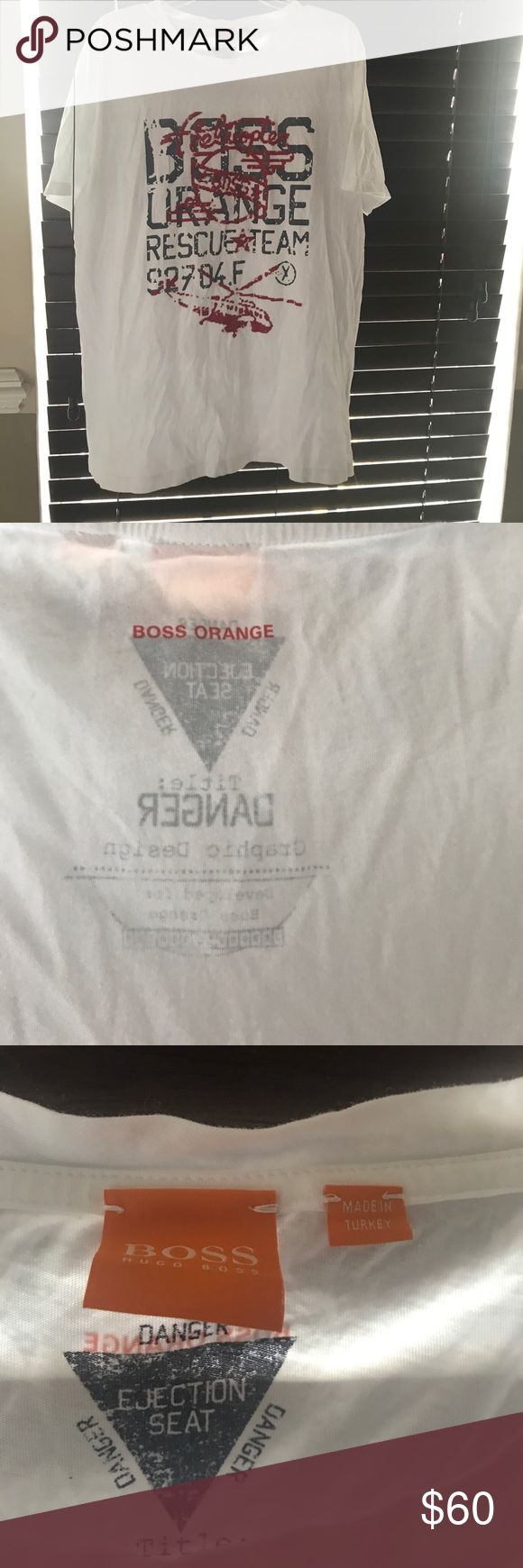 Boss danger tee Hugo boss danger orange rescue team tee white tee with red logo and helicopter on top of gray lettering.  No holes rips tears or stains or piling.  Worn 1x.  🚭🚫🐱🚫🐶🏡 Hugo Boss Shirts Tees - Short Sleeve