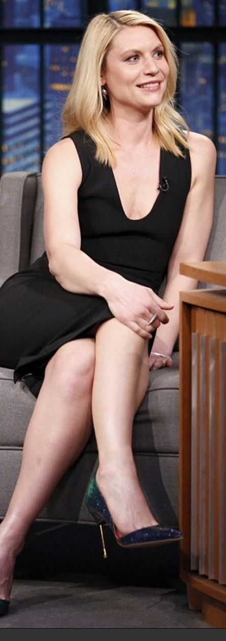 Who made  Claire Danes' blue sequin pumps and black cut out dress?