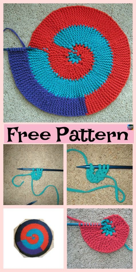 Beautiful Knit Spiral Rag Rug - Free Pattern   Knitting kitchen ...