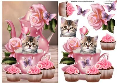 Cup of love  on Craftsuprint designed by Marijke Kok - very cute design with a kitten in a teacup,with beautiful pink roses and butterflies - Now available for download!