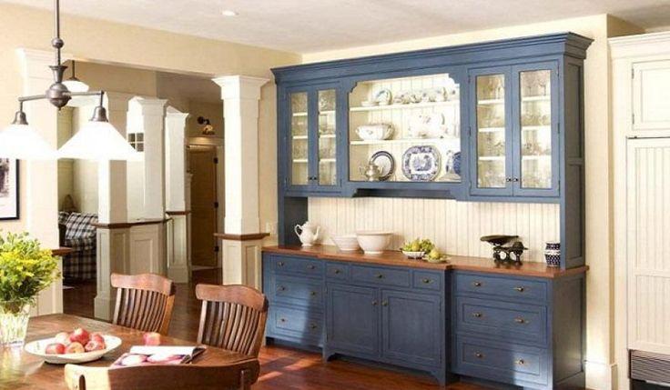 Kitchen Design : Modern Blue Kitchen Cabinets With Glass Doors ~ HeimDecor