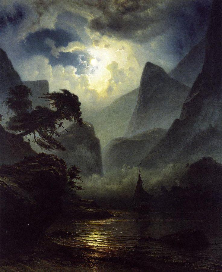 Knud Baade  Norwegion Fjord Landscape in the Moonlight 1855