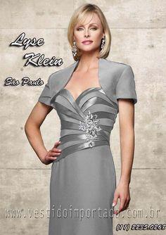 vestido mae da noiva prata com manga e bolero loja em São Paulo ... 1c8410a1ab