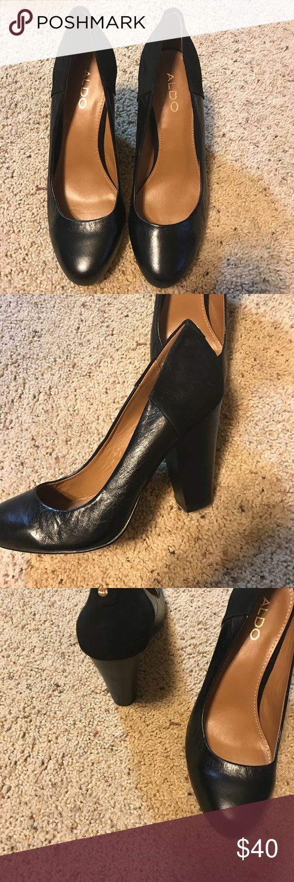 NWOB Aldo Black leather shoes Classic all leather court shoes with more of a rounded toe, thick heel and suede design on back of shoe.   Brand new, unfortunately I don't have the box. Aldo Shoes Heels