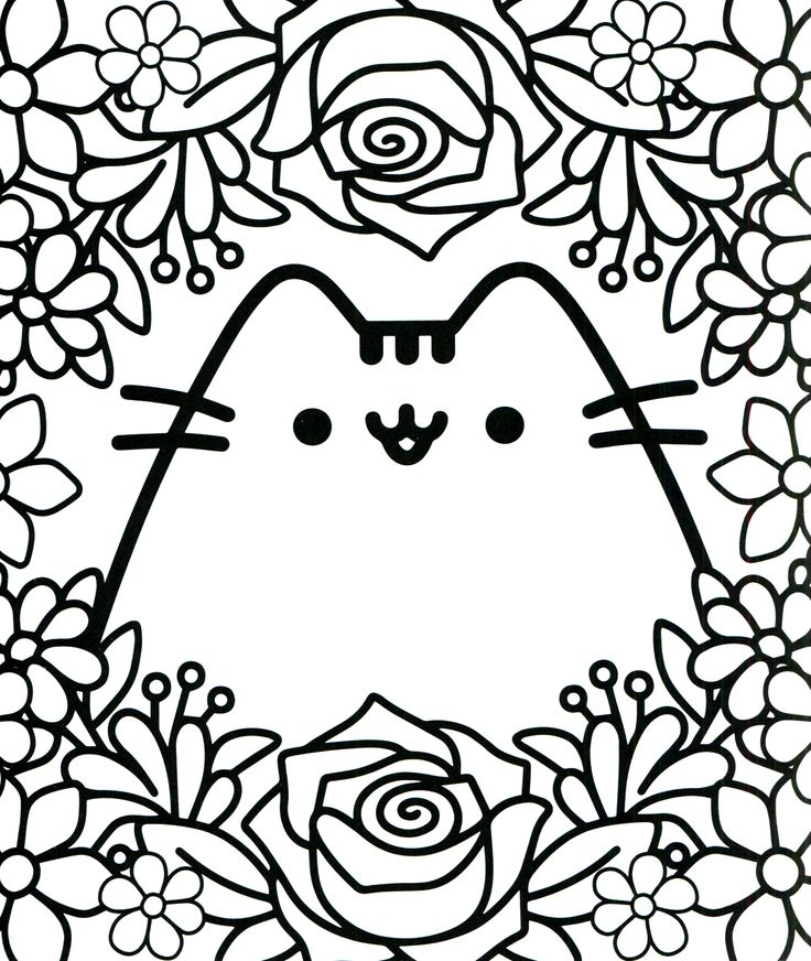 Coloring Pages Kawaii : Pusheen coloring book the cat