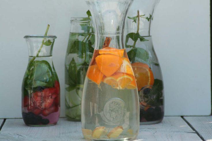 4 soorten fruitwater, bv gember - kaneel - sinaasappel