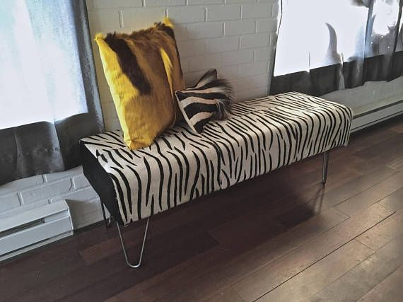 Marvelous AB FAB New Genuine Hair On Zebra Pint Cowhide BENCH Ottoman Great Ideas