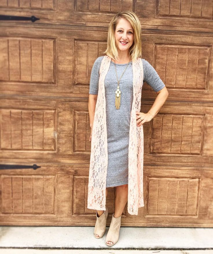 LuLaRoe Joy lace vest over a simple grey Julia dress!