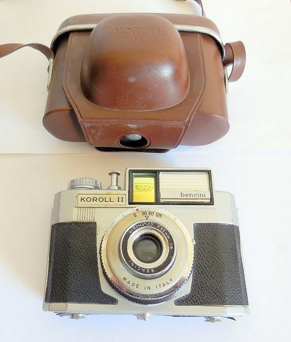 Bencini Koroll II, 1960s 120 Film Camera with Original KOROLL Case, Made in Italy