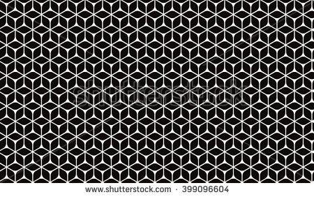 Monochrome abstract isometric pattern - repeat flowers, triangular matrix…