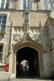 Entrance to the Old Cavendish Laboratory.