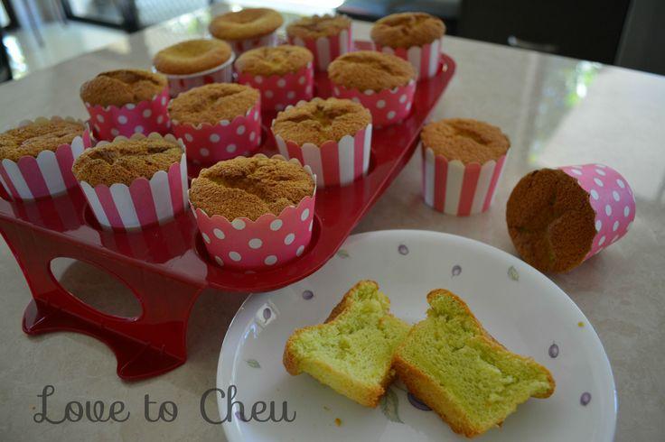 Pandan Chiffon Cake, cupcakes.  Visit us on lovetocheu.blogspot.com for more recipe ideas.