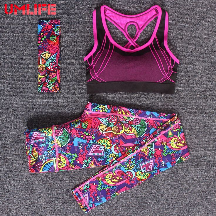 ==> [Free Shipping] Buy Best UMLIFE 2017 New Women Printed Yoga Set Colorful Yoga Pants Push Up Yoga Bra Women Three Piece set Fitness Running Sports Clothes Online with LOWEST Price | 32764621799
