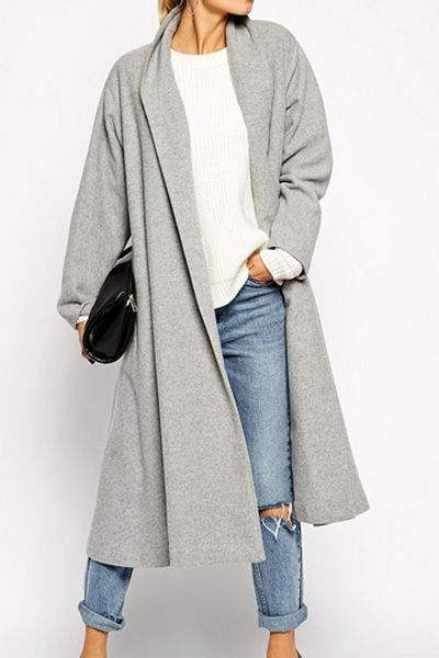 A - Shawl Neck Gray Wool Coat