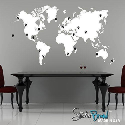 "Stickerbrand© Vinyl Wall Art World Map of Earth with Pin Drops Wall Decal Sticker - Black Map w/ Red, Black, White & Grey pins, 40"" x 70"". Easy to Apply & Removable - FREE Application Squeegee"